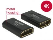 DeLock Adapter High Speed HDMI with Ethernet – HDMI-A female > HDMI-A female 4K Gender Changer Black