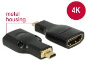 DeLock Adapter High Speed HDMI with Ethernet – HDMI Micro-D male > HDMI-A female 4K Black