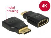 DeLock Adapter High Speed HDMI with Ethernet – HDMI Mini-C male > HDMI-A female 4K Black