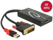 DeLock DVI-D (Dual Link) male > Displayport 1.2 female Adapter Black