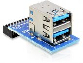 DeLock USB 3.0 Pin Header female > 2x USB 3.0 female up stacked