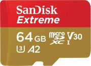 Sandisk 64GB microSDXC Extreme UHS-I A2 C10 V30 + adapterrel