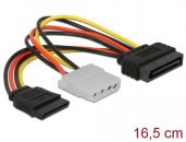 DeLock Cable Power SATA 15 pin male > Molex 4 pin female + SATA 15 pin female