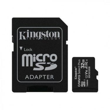 Kingston 32GB microSDHC Canvas Select Plus 100R A1 C10 Card + adapterrel