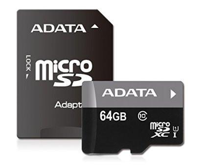 A-Data 64GB microSDXC Class 10 Premier UHS-I + adapterrel